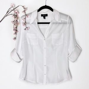 BCX Sheer White Button-Up Top w/ Roll-Tab Sleeves
